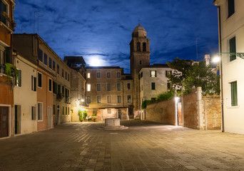 Night view of old square in Santa Croce in Venice, Italy