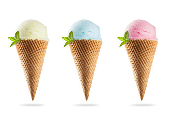Ice creams in cones, isolated on white background