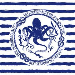 Seafood restaurant emblem with octopus