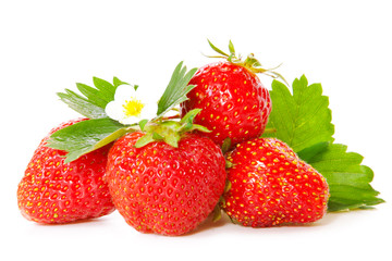 Fresh red strawberries isolated on white.