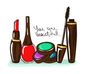 Illustration with decorative cosmetics