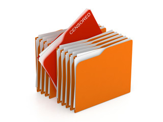 Folder concept - directory - censored files - 3d rendering