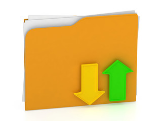 Folder icon - data transfering concept - upload/download - isola