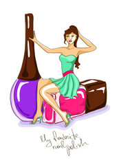 Illustration with girl and nail polish bottles