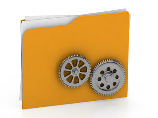 Folder illustrated with  gear wheel - working concept - 3d rende