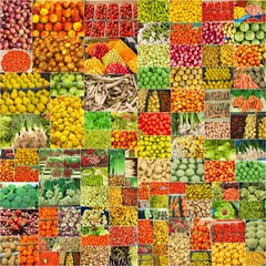collage of photographs of vegetables and fruits