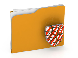 3d illustration of broken security folder - virus concept - 3d r