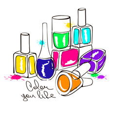 Illustration with nail polish bottles