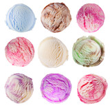 Fototapety Set of ice cream scoops on white background
