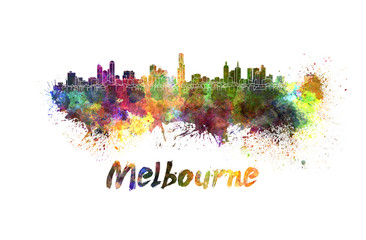 Melbourne skyline in watercolor