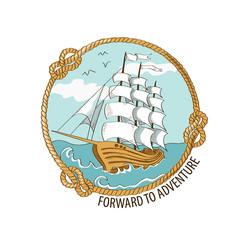 Nautical emblem with sailing ship