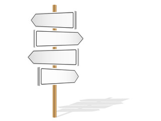 FOUR BLANK SIGNPOSTS (template decision-making road signs)