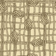 Seamless pattern of ropes grid with marine knotes
