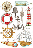 Set of isolated nautical icons
