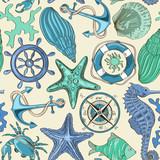 Fototapety Seamless pattern of sea animals and nautical elements