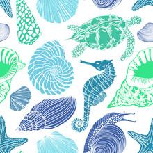 Naadloze patroon van zeedieren