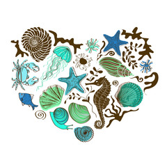 Heart of sea animals and shells
