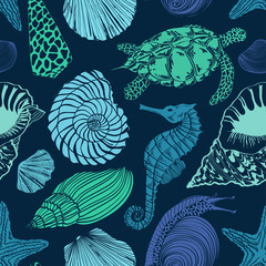 Seamless pattern of sea animals