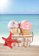 Fruit ice creams on beach