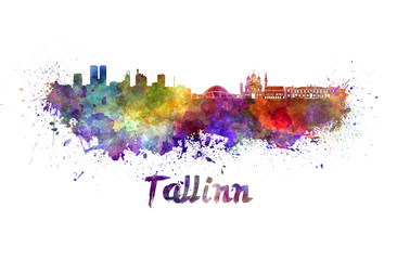 Tallinn skyline in watercolor