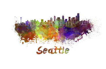 Seattle skyline in watercolor