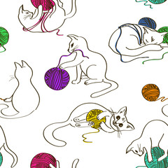Seamless pattern with cats playing ball of yarn