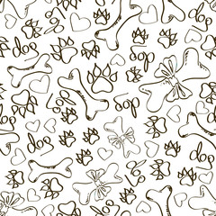 Seamless pattern of dog's paws and bones