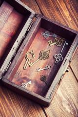 vintage keys inside old treasure chest on wooden background