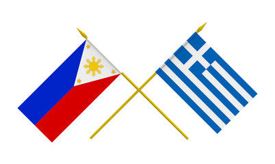 Flags, Philippines and Greece