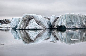 Floating ice symmetrically reflected in the water