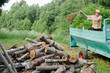 farmer man unload tree logs firewood from trailer