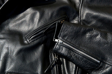vintage black cowhide leather motorcycle jacket