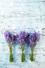 Fresh lavender on wood