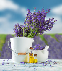 Lavender still life with blur field on background