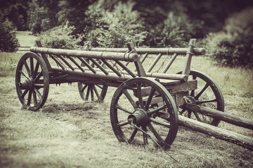old wooden cart, vintage stylized photo