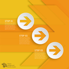 Infographics Background 3-Step Yellow Arrows