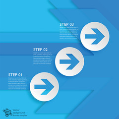 Infographics Background 3-Step Blue Arrows