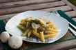 Pasta with stewed mushrooms
