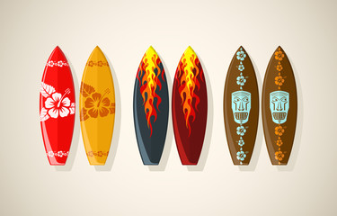 Vector illustration of surf boards