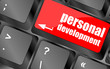 Keyboard key with enter button personal development