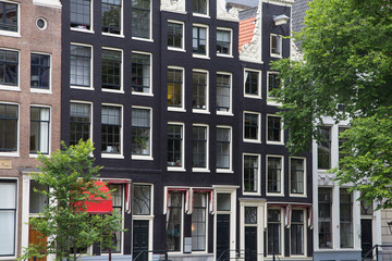 The narrow houses in Amsterdam