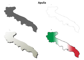 Apulia blank detailed outline map set