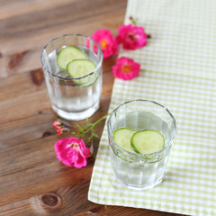 Cold water drink with cucumber