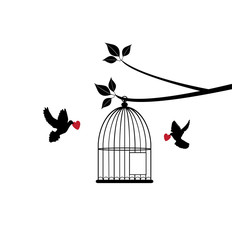 vector bird cage with doves and red hearts