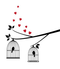 vector tree with birds, cage, hearts