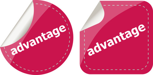 advantage word stickers set, icon button
