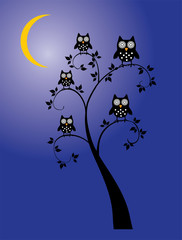 vector tree with owls, moon