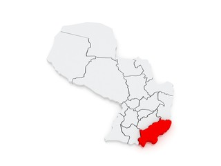 Map of Itapua. Paraguay.
