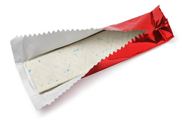 Chewing gum plate wrapped in red foil isolated on white