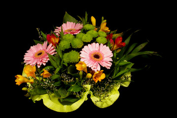 Various flower bouquet isolated on the black background